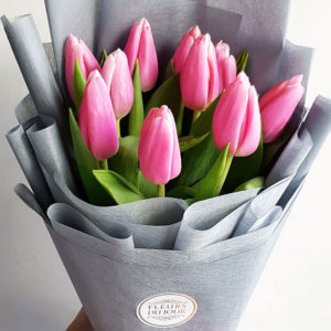10-stems-Pink-Tulips-Bouquet