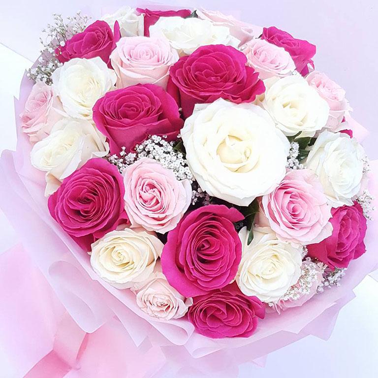3 Doz Mixed Pink Roses Bouquet Fleurs Du Jour