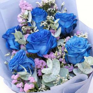 6-stems-Blue-Roses-Bouquet