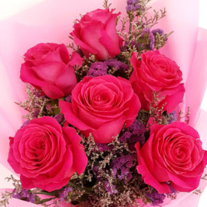 6-stems-Fuchsia-Roses-Bouquet