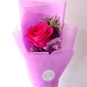 Single-Stem-Fuchsia-Rose-Bouquet