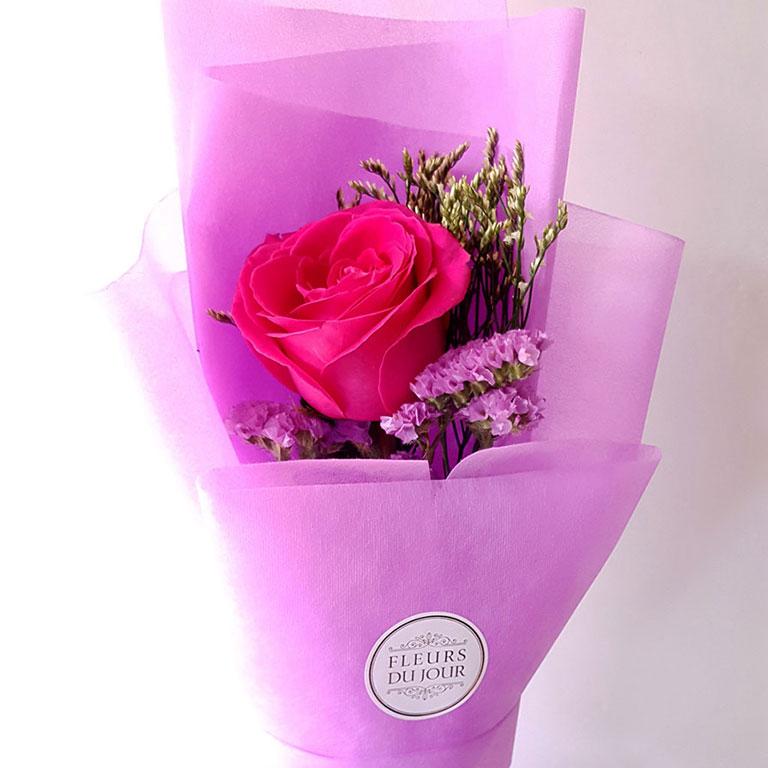 Single-Stem-Fuchsia-Rose-Bouquet